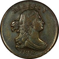 1808 1/2C DRAPED BUST HALF CENT ANACS AU50 LOW MINTAGE  OLD TYPE COIN