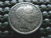 1892-P DRAMATIC REPUNCHED DATE BARBER DIME