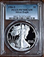 1986-S $1 PROOF SILVER EAGLE PCGS PR70DCAM | FIRST YEAR OF ISSUE | SPOTLESS