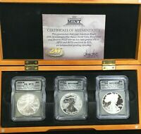 2006 $1 AMERICAN SILVER EAGLE 20TH ANNIVERSARY SET 1ST DAY OF ISSUE ICG GRADED
