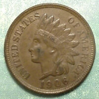 1906 INDIAN HEAD PENNY AU ABOUT UNCIRCULATED  BRWN 4 DIAMOND  PICK ASET HERE