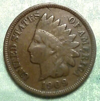 1909 INDIAN HEAD PENNY AG ABOUT GOOD-BEND  BROWN  14 MILLION SEMI-KEY