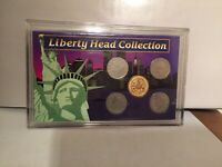 LIBERTY HEAD COLLECTION 5 V NICKELS 1 GOLD PLATED 1907 -1905-1906-1906-1912