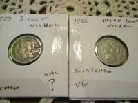 LOT OF 2 THREE 3 CENT NICKELS PIECE 1870 1865