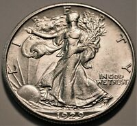 1929 D WALKING LIBERTY HALF DOLLAR HIGH GRADE DETAILS BETTER