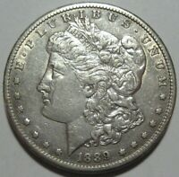 1889-S AU MORGAN DOLLAR, CLEANED,  EYE APPEAL, SHIPS FREE
