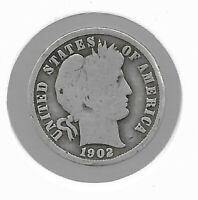 RARE 100 YEAR OLD 1902 US SILVER BARBER LIBERTY COLLECTION D