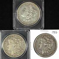 THREE MORGAN SILVER DOLLARS 1883HIGH GRADE, 1901-O, AND 1902 SEE PICS FOR COND