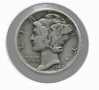 RARE OLD 1942 US SILVER LIBERTY MERCURY COLLECTION DIME COLL