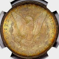 1883-P MORGAN SILVER DOLLAR, NGC MINT STATE 63 - COMPLETELY TONED, BULLSEYE REV, SPECIAL