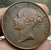 1857  VICTORIA LARGE PENNY BEAUTIFUL NEAR UNCIRCULATED COIN