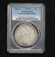 1896-O MORGAN DOLLAR VAM-19 SHIFTED DATE PCGS EXTRA FINE -45 023X