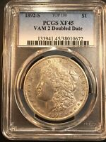 1892-S EXTRA FINE 45 PCGS MORGAN DOLLAR TOP 100 VAM 2 DOUBLE DATE SHIPS FREE