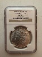 1888-O MORGAN SILVER DOLLAR VAM-1A CLASHED E NGC MINT STATE 62 TOP 100 SHIPS FREE