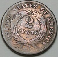 1864 2C TWO CENTS EARLY TYPE COIN 2 CENTS DOUBLE PENNY COPPER 14832