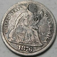 1876 10C SEATED LIBERTY DIME LIBERTY SEATED 90  SILVER 14937