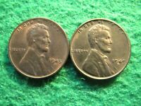 1945 S & 1949 S LINCOLN CENTS - LIGHT TONED RED & BROWN UNCIRCULATED