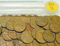 1954 S LINCOLN WHEAT CENT/PENNY ROLL - 50 COINS - AVERAGE CIRCULATED