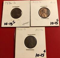 1936-S 1937-S 1932-D WHEAT LINCOLN CENT PENNY COIN LOT OF 3 AU BU READ