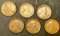 LOT 6 LINCOLN WHEAT CENT - 1910S 1911S 1912S 1913S 1915S 1916S  /TNT37