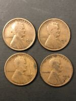 LOT 4 LINCOLN WHEAT CENT PENNY - 1912S 1913S 1915S 1916S      /TNT64