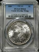 1889 MINT STATE 64 PCGS VAM19A BAR WING MORGAN DOLLAR IDGG376