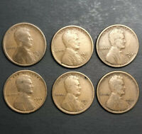 LOT 6 LINCOLN WHEAT CENT PENNY - 1910S 1912S 1913S 1914S 1915S 1916S  /TNT102