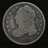 1834 US 10C CAPPED BUST SILVER DIME   GOOD
