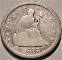 1875 S SEATED LIBERTY TWENTY CENT PIECE BETTER TYPE COIN SIL