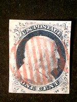 U S STAMPS SCOTT 5A ONE CENT FRANKLIN IMPERFORATE USED RED C