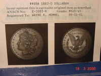 1882-0 MORGAN DOLLAR ANACS CERTIFIED MINT STATE 65/65.    DATE