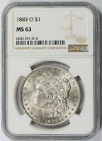 1883-O MORGAN DOLLAR SILVER $1 MINT STATE 63 NGC