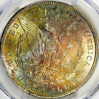 1884-CC MORGAN SILVER DOLLAR - PCGS MINT STATE 66 - PREMIUM TONED REVERSE @ FRONT OF SLAB