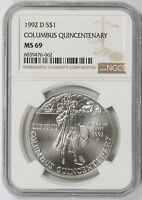 1992-D COLUMBUS QUINCENTENARY MODERN SILVER COMMEMORATIVE DOLLAR $1 MINT STATE 69 NGC