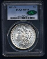 1891-S MORGAN SILVER DOLLAR CHOICE BRILLIANT UNCIRCULATED PCGS CERTIFIED MINT STATE 64CAC