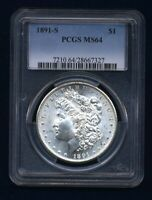1891-S MORGAN SILVER DOLLAR CHOICE BRILLIANT UNCIRCULATED PCGS CERTIFIED MINT STATE 64