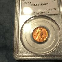 1937-S LINCOLN CENT PENNY -PCGS MINT STATE 66 RED - REALLY RED - OLD HOLDER - GORGEOUS