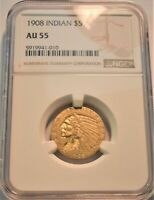 1908 $5 NGC AU 55 GOLD INDIAN HALF EAGLE BETTER FIRST YEAR C