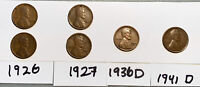 19262, 19272, 1936-D,  1941-D LINCOLN CENT WHEAT CENT, 6-COIN LOT
