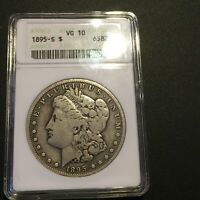 1895-S MORGAN DOLLAR - ANACS VG 10 - LOOKS BETTER - OLD HOLDER - NO DISTRACTIONS