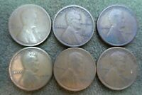 LINCOLN CENTS - 1915D-1916D-1917D-1918D-1919D-1920D ALL IN VG CONDITION