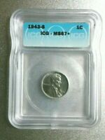 1943-S LINCOLN STEEL PENNY ICG MINT STATE 67 NEXT TO TOP POP