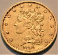 1835 $5 CLASSIC HEAD GOLD HALF EAGLE HIGHER GRADE BETTER TYP