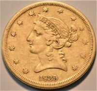 1839 $5 GOLD LIBERTY HALF EAGLE HIGHER GRADE SCARCE FIRST YE