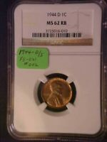 1944-D/S OMM LINCOLN WHEAT CENT FS-021 002 - NGC MINT STATE 62 RB -GREAT VARIETY-D1856