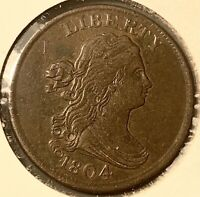 1804 HALF CENT WITH STEMS AND CROSSLET 4  EARLY US COIN TYPE