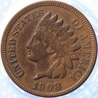 1908 INDIAN CENT, CHOICE EXTRA FINE