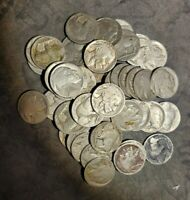 ROLL OF 40 BUFFALO NICKELS $2 FACE 1913 1938 MIXED DATE MM DATED AND DATELESS