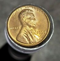 1958 D LINCOLN WHEAT CENT 1C BU ROLL UNC MS 50 COINS TOTAL $0.50 FACE VALUE