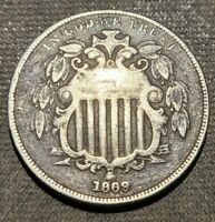 1869 SHIELD NICKEL 5C REPUNCHED DATE FS 1306  RPD